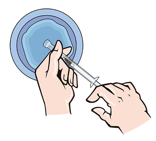 Refill the syringe with warm water and flush the applicator.